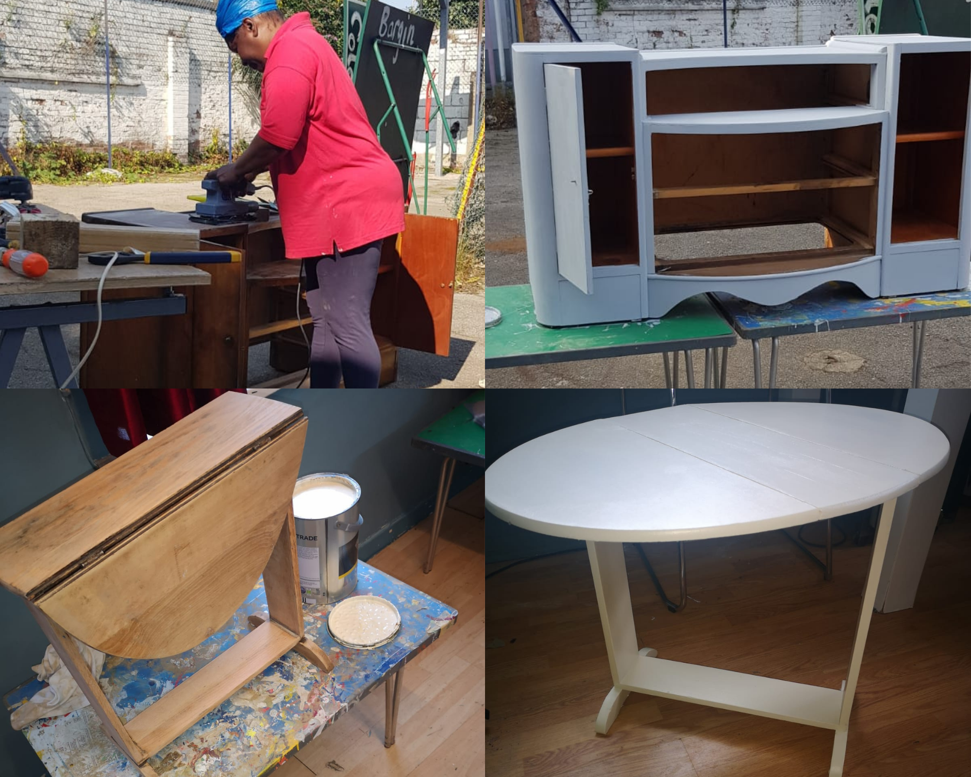 Furniture upcycling at Community RePaint Sandwell and Soho