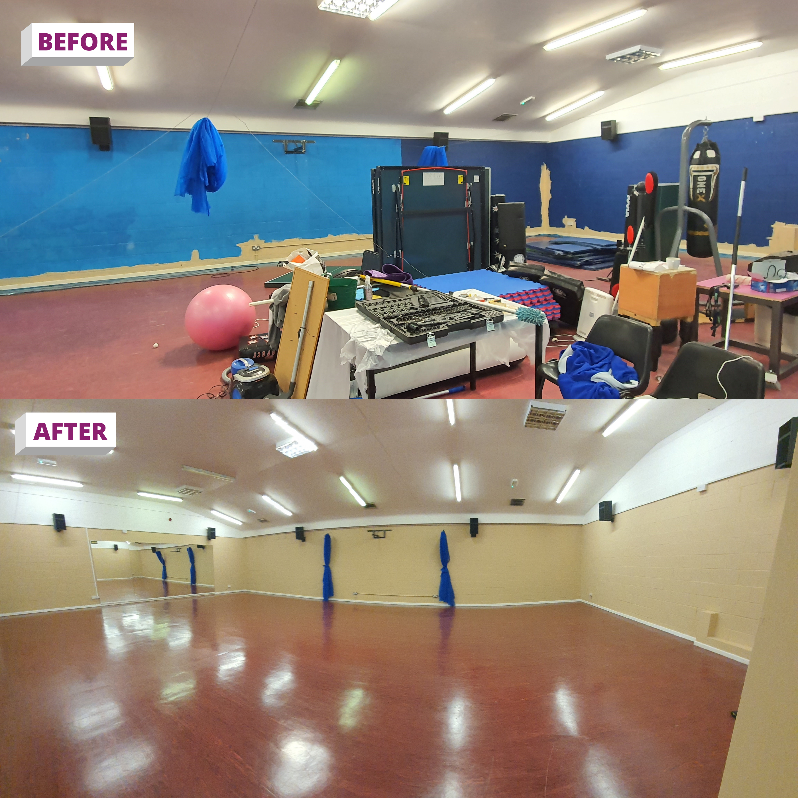 Before vs After photo of Widnes RUFC club using ReColour paint