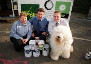 Staff with Dulux dog during launch of Community RePaint Derby 2000